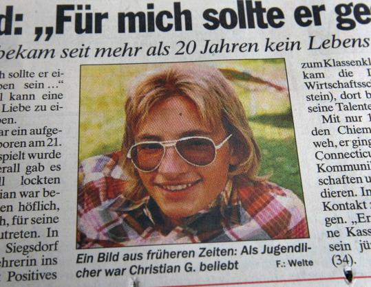 A old photo of Christian Karl Gerhartsreiter before he left for the United States appeared in a German newspaper yesterday. Police say Gerhartsreiter went by the name Clark Rockefeller.