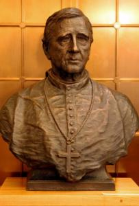 The bust of Archbishop John Joseph Williams is part of the library exhibit.
