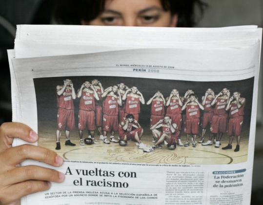 Members of Spain's men's basketball team say their controversial team photo was not intended to be racist.