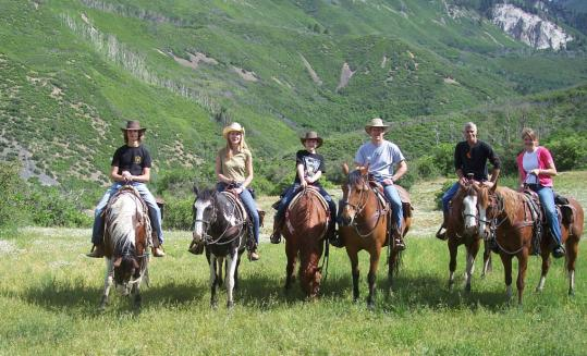 Some of the author's family and relatives head out from Smith Fork Ranch in Crawford, Colo.