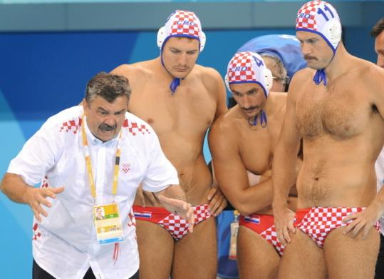 The Croatian water polo team, a tournament favorite, has adopted the mustache look of its coach, Ratko Rudic (left).