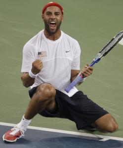 James Blake had plenty to shout about after knocking off Roger Federer in straight sets in the quarterfinals.