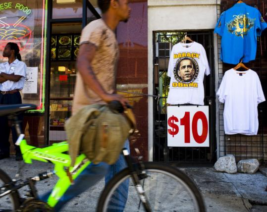 Scott Lewis for The Boston GlobeT-shirts with the image of presumptive Democratic presidential nominee Barack Obama were for sale at the Urban Unity store in West Philadelphia.