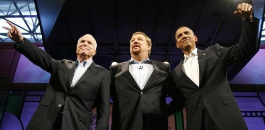 John McCain and Barack Obama spoke about matters of faith and politics in a forum moderated by Pastor Rick Warren (center) last night in Lake Forest, Calif.