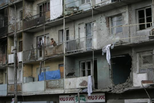 Many apartment buildings were damaged during fighting in Tskhinvali, in the Georgian breakaway province of South Ossetia. The conflict erupted on Aug. 7.