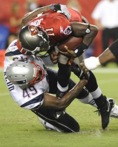 Rookie linebacker Vince Redd scored a takedown on Tampa Bay's Josh Johnson.