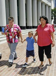 Guadalupe Benitez (right), with her partner, Joanne Clark and their son Gabriel Clark-Benitez.