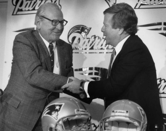 James Busch Orthwein (left) sold the New England Patriots to Bob Kraft in 1994.