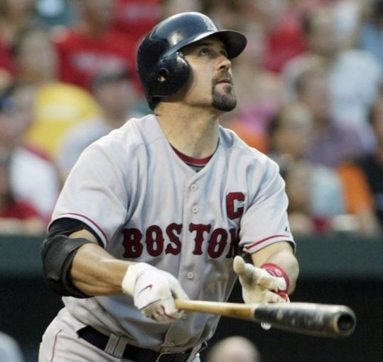 A rare but welcome moment for Jason Varitek: The slumping catcher slugs a home run lefthanded in the second inning.