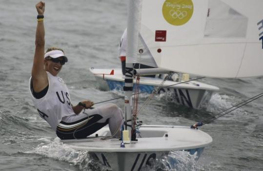 Anna Tunnicliffe of the US is psyched after winning gold in Laser Radial class sailing.