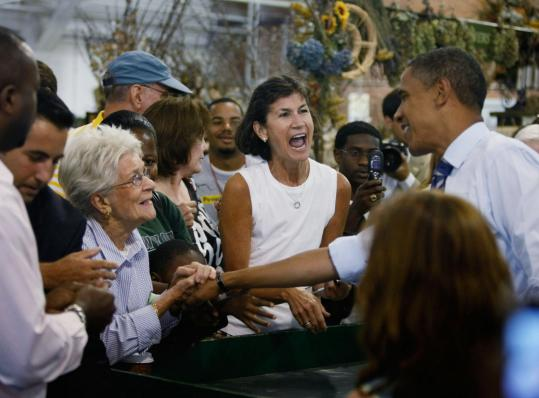 Senator Barack Obama got a warm greeting yesterday during an appearance at a farmers' market in Greensboro, N.C.