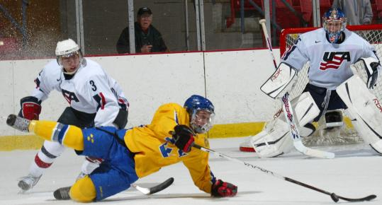 Bruce Bennett/Getty ImagesDavid Warsofsky (3) of Team USA scored twice during the USA Hockey National Junior Evaluation Camp in Lake Placid, N.Y., earlier this month.