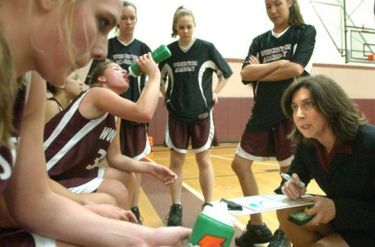 Sherry Levin, seen in action as girls' basketball coach at Worcester Academy, is Beaver Country Day's new athletic director.