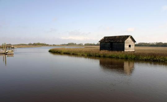 On Bald Head Island, N.C., an old boat house sits on Bald Head Creek, and celebrity canine Captain Jack, a 9-year-old Great Dane, and his owner, Bill Waddell, make the rounds.