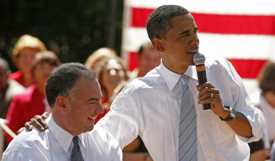 Governor Tim Kaine of Virginia appeared with Senator Barack Obama during a town hall meeting yesterday in Chester, Va.