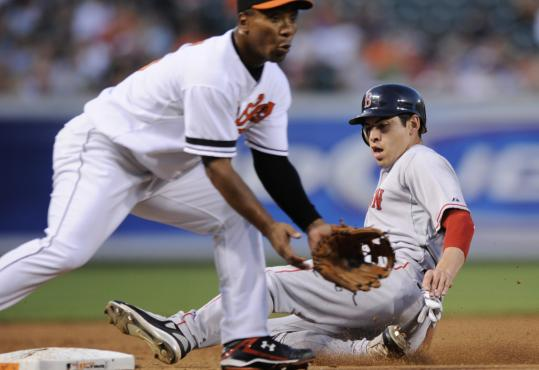 Sliding in ahead of the throw to Melvin Mora, Jacoby Ellsbury stole his 41st base Wednesday.