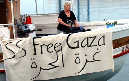 Mary Hughes-Thompson arranged her bag yesterday as she and other activists prepared to sail from Cyprus to the Gaza Strip.
