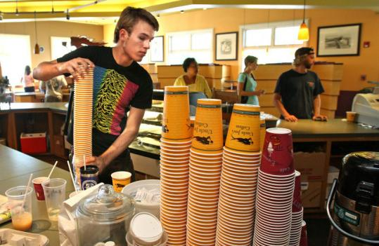 John DiSalvo graduated from BU in three years and is working at a coffeehouse until he finds a substitute teaching job.
