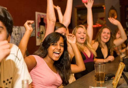 Team Pink members Divya Akhouri, Michelle Bemko, and Danielle Duffey, all of Boston, celebrated after they won the trivia competition. More info on the Savant Project SUBMIT Your nightlife photos! TALK What scene should we visit next?