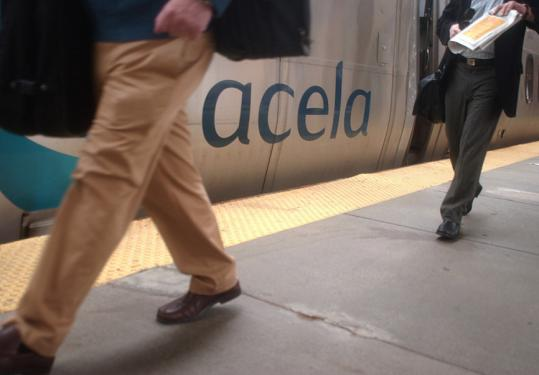 Passengers get off the Acela at South Station. Demand for tickets on the high-speed trains between Washington and Boston has increased.
