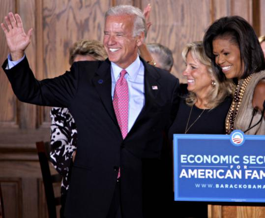 Joe Biden joined Michelle Obama at a women's economic roundtable discussion yesterday in Denver.