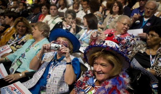 Ohio delegates Peggy Tanksley and Cathryn Fellinger captured some views at the Democratic National Convention in Denver yesterday.