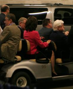Senator Edward M. Kennedy was driven in a golf cart yesterday from a loading dock into the Democratic National Convention.