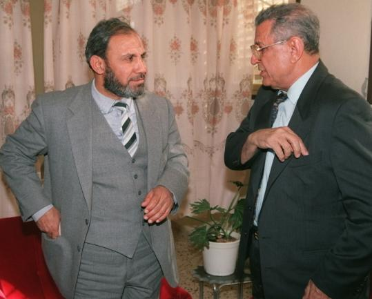Mahmud al-Zahar (left), a Palestinian Hamas leader, met in 1996 with Israeli peace supporter Abi Nathan in Gaza City.
