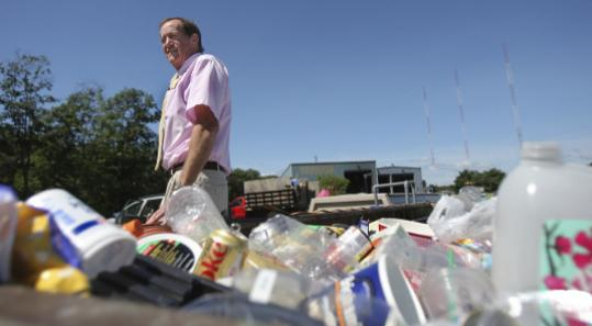 Needham recycling superintendent Charles Laffey at the recycling center.