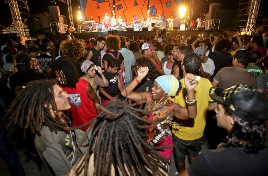 Young Moroccans dance at the Burning Spear show last month in Casablanca.
