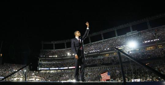 Senator Barack Obama acknowledged the more than 84,000 people who watched him accept the Democratic presidential nomination at Invesco Field in Denver last night.