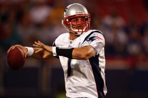 Quarterback Matt Gutierrez (7) of the New England Patriots prepares to pass during a presseason game.