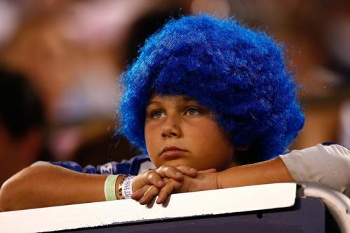A New York Giants fan looks less-than-enthralled during Thursday's preseason finale.