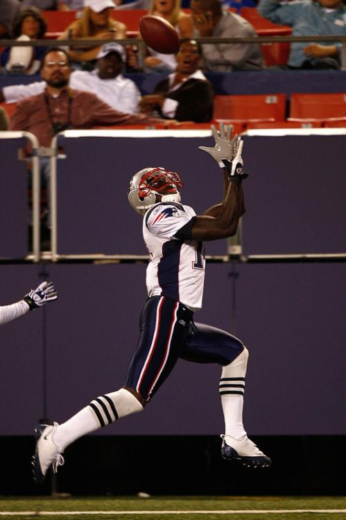 Wide receiver Chad Jackson of the New England Patriots reels in a touchdown pass during a presseason game against the New York Giants.