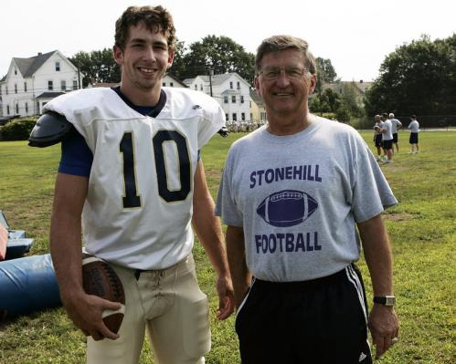 Coyle & Cassidy High School's 'Mr. Everything' Conor Henry (10) poses with his coach Tom Pileski.