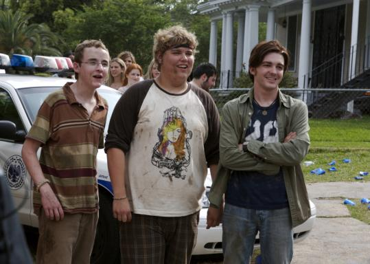 From left: Kevin Covais, Andrew Caldwell, and Drake Bell play high school seniors expecti