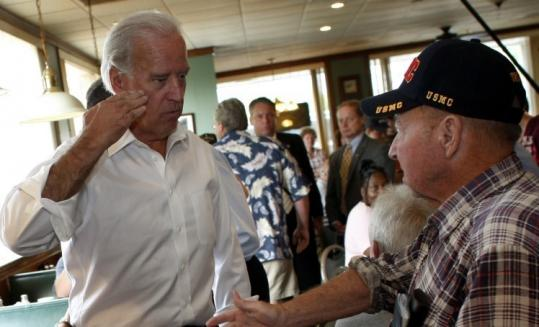 Democratic vice presidential candidate Joe Biden saluted a veteran yesterday at a restaurant in Boardman, Ohio.