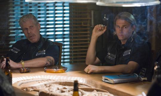 Ron Perlman (left) and Charlie Hunnam in ''Sons of Anarchy,'' an new series on FX.