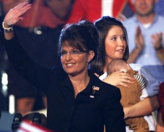 Bristol Palin, holding Trig, was on stage with Governor Sarah Palin at a rally Friday in Ohio.