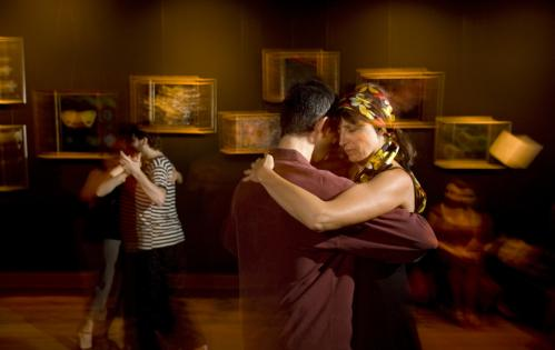 Tatyana Karpenko of Newton (in the flowing, flowery head wrap) danced with a partner at the milonga. More info on the Lily Pad SUBMIT Your nightlife photos! TALK What scene should we visit next?