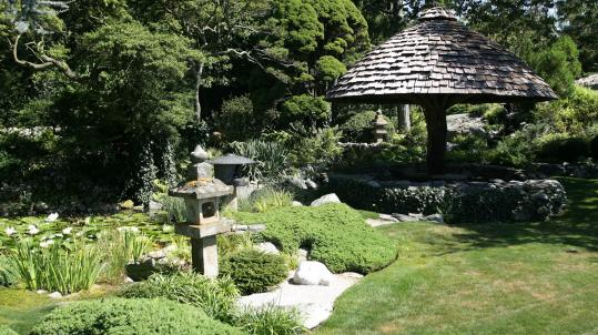 Newport's Secret Garden Tour includes: the restored Japanese Garden (top) at Wildacre, owned by Dorrance Hamilton; a home interior on the tour; and the grounds of Bellevue House, which is owned by Ronald Lee Fleming.