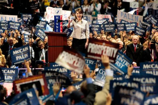 Republican vice presidential candidate Sarah Palin drew applause and roars from convention delegates last night in St. Paul.