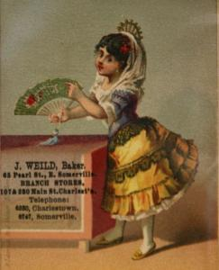 This antique trading card is kept in the Local History Room at Somerville Public Library.