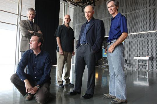 Among the leaders of the ensembles participating in the inaugural Ditson Festival of Contemporary Music at the ICA Sept. 18-21 are (rear, from left) Richard Pittman, Boston Musica Viva; Gil Rose, Boston Modern Orchestra Project; Scott Wheeler, Dinosaur Annex; Stephen Drury, Callithumpian Consort; and (front) Aaron Trant, Firebird Ensemble.
