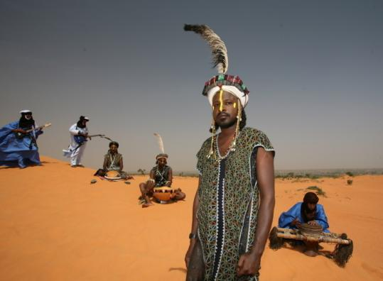The band Etran Finatawa features three members each from Niger's Tuareg and Wodaabé ethnic groups.