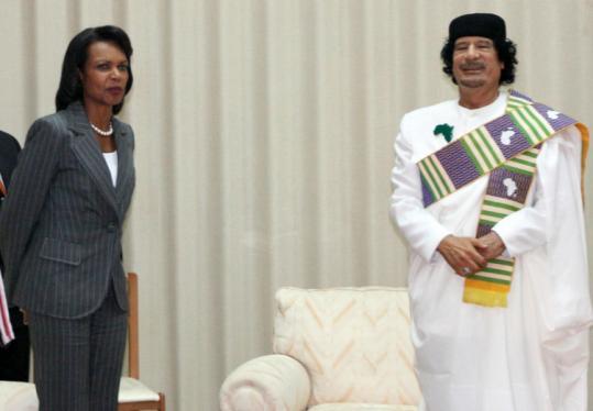 Libyan leader Moammar Khadafy with US Secretary of State Condoleezza Rice in Tripoli.