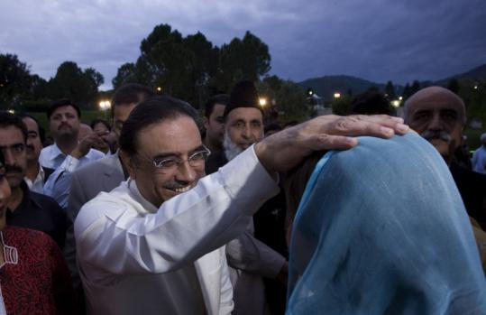 President-elect Asif Ali Zardari of Pakistan was congratulated during a celebration dinner in Islamabad yesterday.