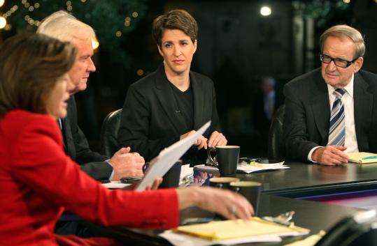 Rachel Maddow (second from right) in an MSNBC broadcast from St. Paul last week with Norah O'Donnell, Chris Matthews, and Pat Buchanan.