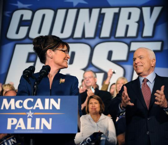 Sarah Palin at a campaign rally with John McCain yesterday in Lee's Summit, Mo. A survey over the weekend indicates Palin has helped close an ''enthusiasm gap'' with Barack Obama.