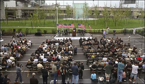 Massport CEO and executive director Thomas J. Kinton, Jr. speaks at the dedication.
